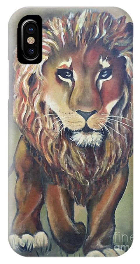 Lion IPhone X / XS Case featuring the painting Lion by Betty Bowers