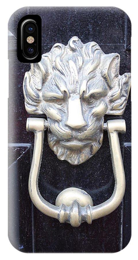 Lion IPhone X Case featuring the photograph Lion Head Door Knocker by Lauri Novak