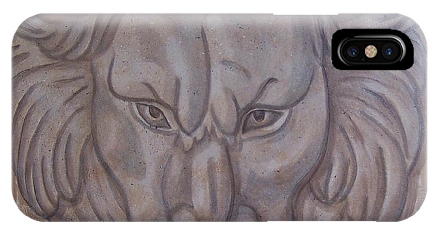 Lion IPhone X Case featuring the painting Lion Head by Emily Young