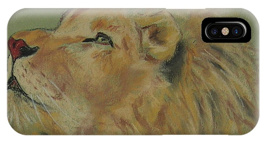 Lion IPhone X Case featuring the drawing Lion Hearted by Cori Solomon
