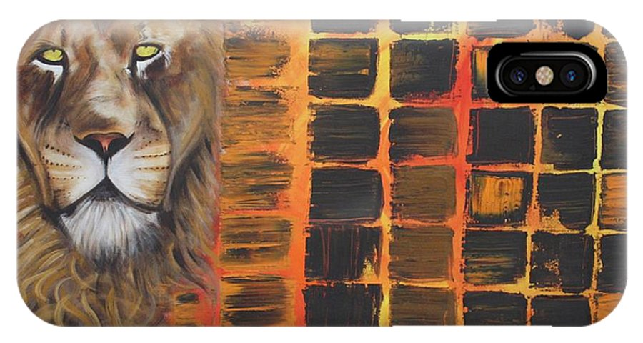 Lion IPhone X Case featuring the painting Lion by Laura Barbosa