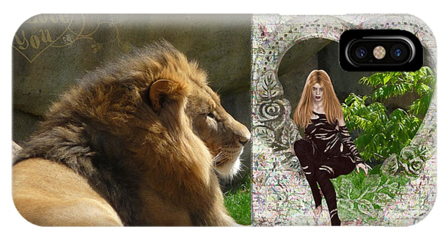 Lion IPhone X Case featuring the photograph Lion Love by RiaL Treasures