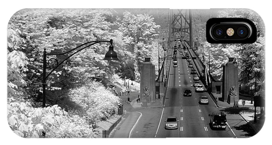 Infrared IPhone X Case featuring the photograph Lions Gate Bridge Summer by Bill Kellett