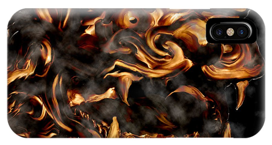 Leo Lion Goth Gothic Wild Emotion Feelings Animal Cloud Fierce IPhone X Case featuring the digital art Lions Roar by Andrea Lawrence