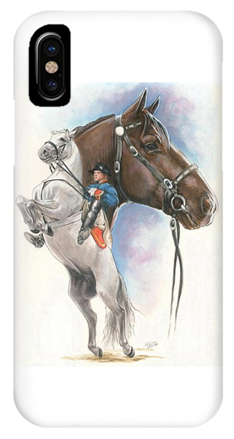 Spanish Riding School IPhone X Case featuring the mixed media Lippizaner by Barbara Keith
