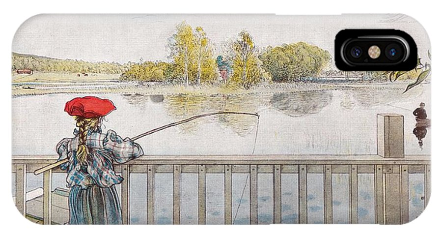 Nature IPhone X Case featuring the painting Lisbeth Angling. From A Home By Carl Larsson by Carl Larsson