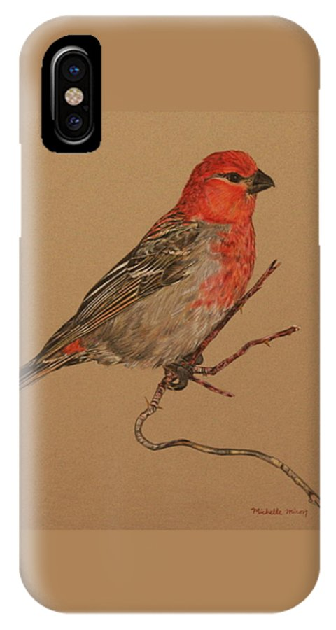 Bird IPhone X Case featuring the drawing Little Bird by Michelle Miron-Rebbe