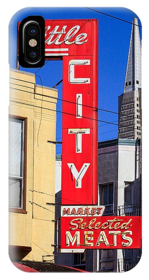 Bonnie Follett IPhone X Case featuring the photograph Little City Sign North Beach by Bonnie Follett