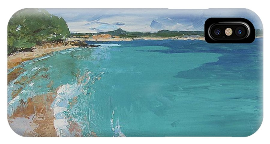 Seascape IPhone X Case featuring the painting Little Cove View by Chris Hobel