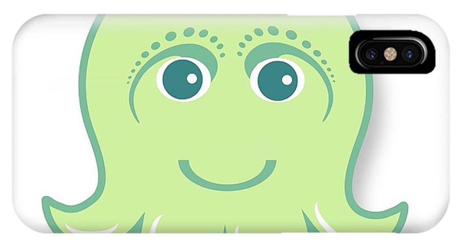 Little Octopus IPhone X Case featuring the digital art Little Cute Green Octopus by Ainnion