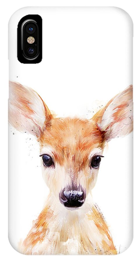 Fawn IPhone X Case featuring the painting Little Deer by Amy Hamilton