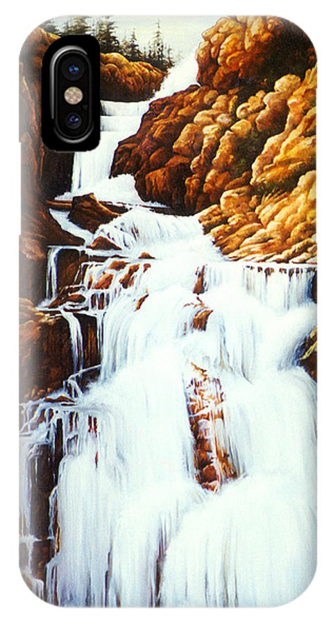 Waterfall IPhone X Case featuring the painting Little Firehole Falls by Teri Rosario