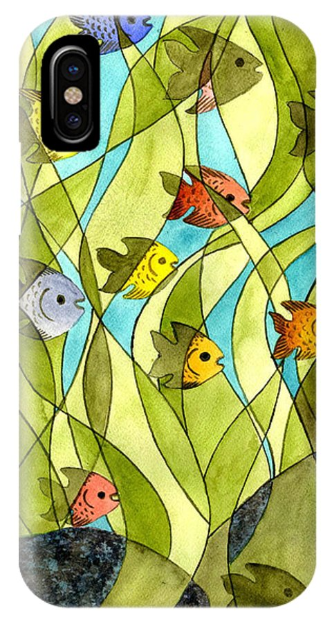 Fish IPhone Case featuring the painting Little Fish Big Pond by Catherine G McElroy