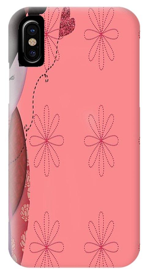 Art IPhone X Case featuring the digital art Little Geisha Pink by Jannina Ortiz
