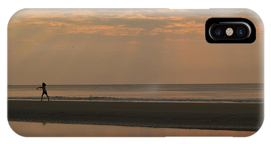 Sunrise IPhone Case featuring the photograph Little Girl In Hunting Island Sunrise by Anna Lisa Yoder