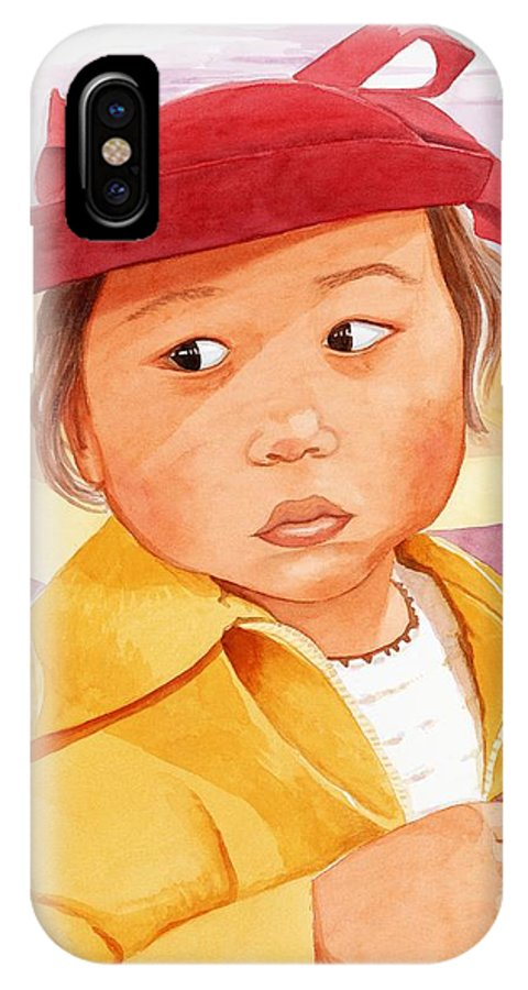 Little Japanese Girl In Red Hat IPhone X Case featuring the painting Little Girl in Red Hat by Judy Swerlick