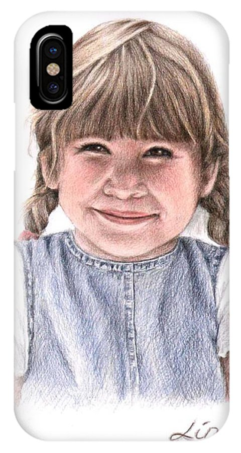 Girl IPhone Case featuring the drawing Little Girl by Nicole Zeug