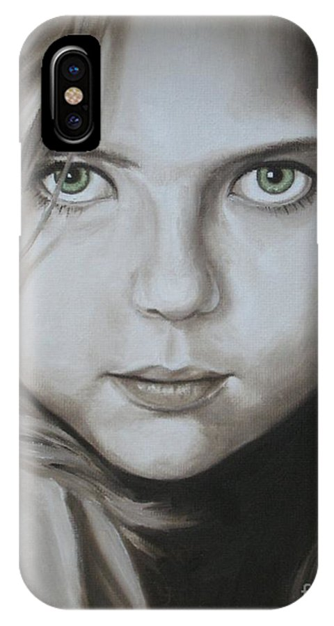 Portrait IPhone X Case featuring the painting Little Girl With Green Eyes by Jindra Noewi