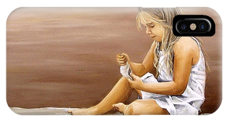 Children Girl Sea Shell Seascape Water Portrait Figurative IPhone Case featuring the painting Little Girl With Sea Shell by Natalia Tejera