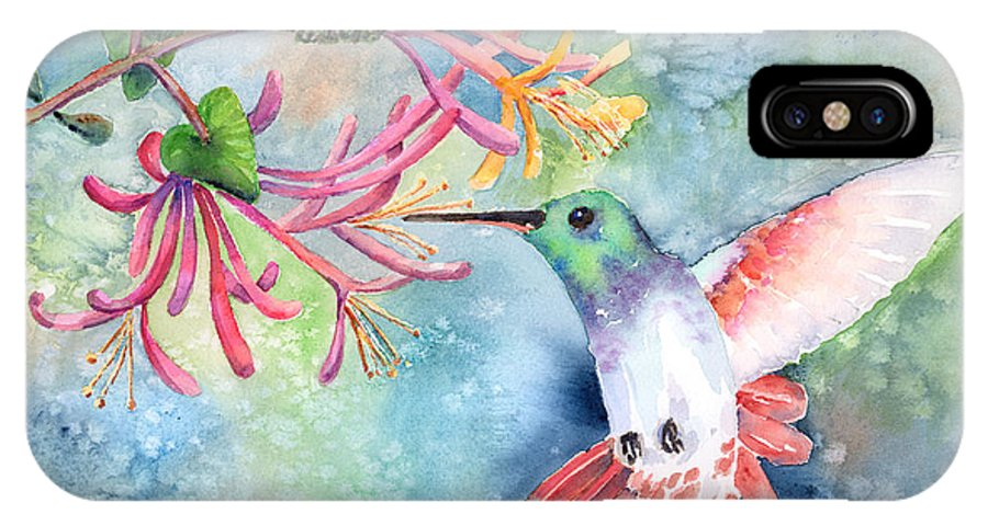 Bird IPhone X Case featuring the painting Little Hummingbird by Arline Wagner