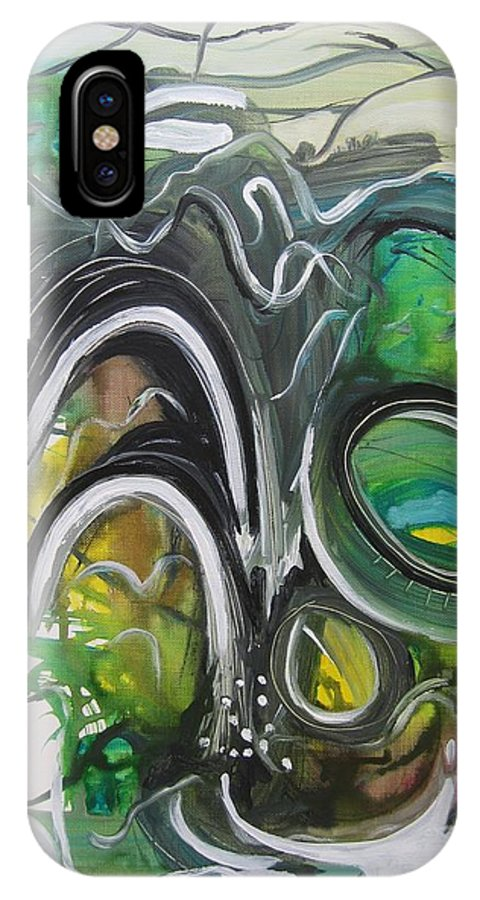 Abstract Paintings IPhone X / XS Case featuring the painting little impression on Alexander trail by Seon-Jeong Kim