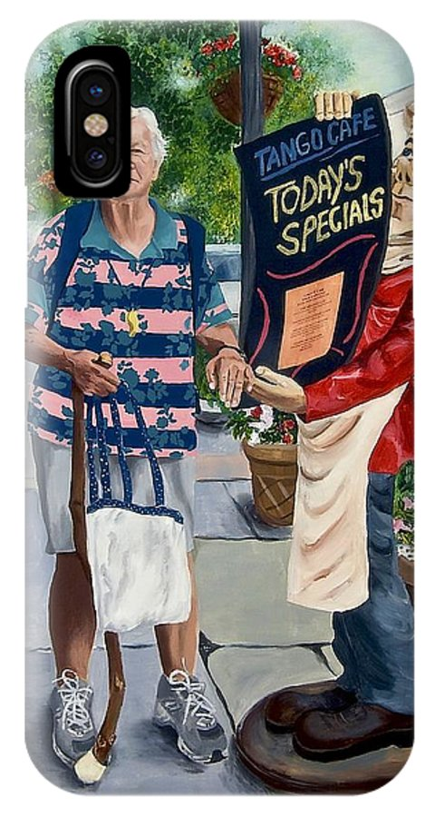 Elderly Woman IPhone X Case featuring the painting Little Lady From Saugerties by Judy Swerlick