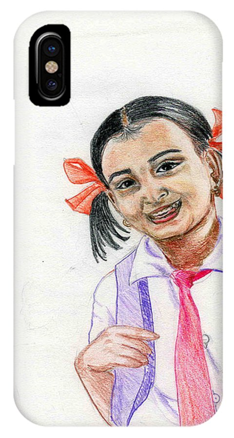 Child IPhone X Case featuring the drawing Little Manju by Asha Sudhaker Shenoy