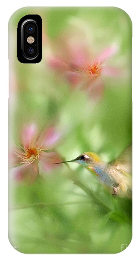Garden Hummingbird Floral Green Tropical Oleander IPhone X Case featuring the photograph Little Miracles by Carolyn Staut