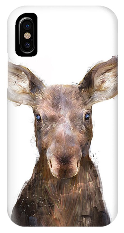 Moose IPhone X Case featuring the painting Little Moose by Amy Hamilton