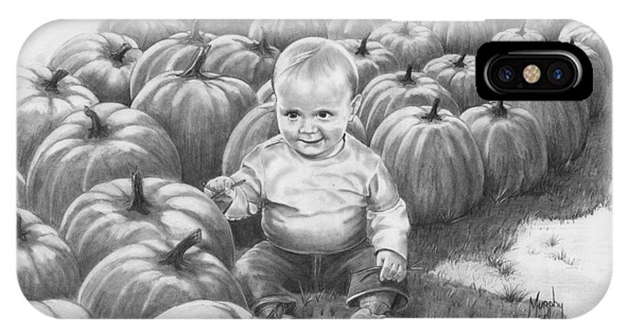 Charity IPhone X Case featuring the drawing Little Pumpkin by Murphy Elliott
