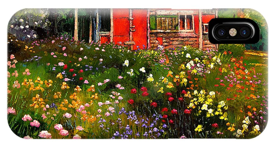 Flower Garden IPhone X Case featuring the painting Little Red Flower Shed by John Lautermilch