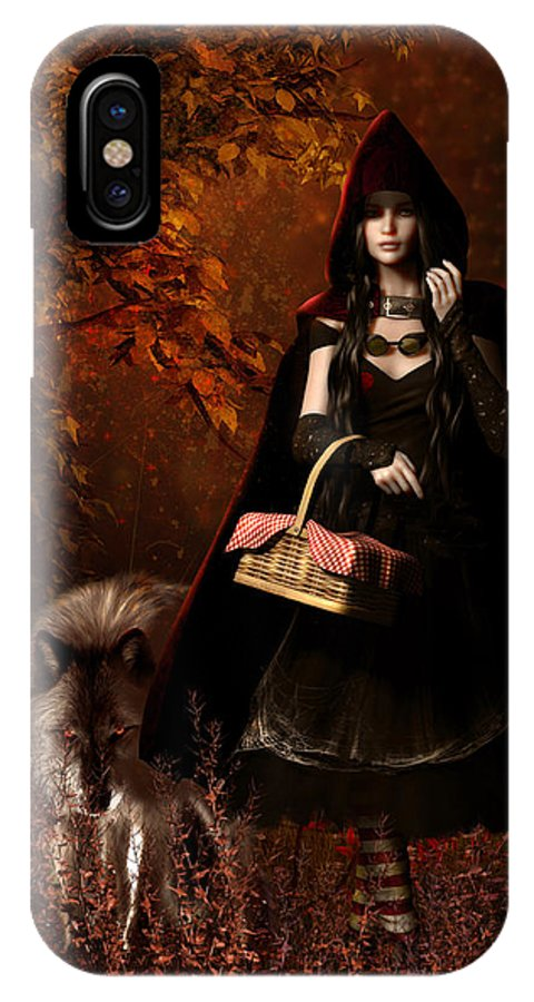 Little Red Riding Hood IPhone X Case featuring the digital art Little Red Riding Hood Gothic by Shanina Conway