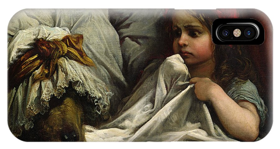Wolf; Disguise; Child; Girl; Fairy Tale; Story; Glasses; Bed; Nightcap; Fear IPhone X Case featuring the painting Little Red Riding Hood by Gustave Dore