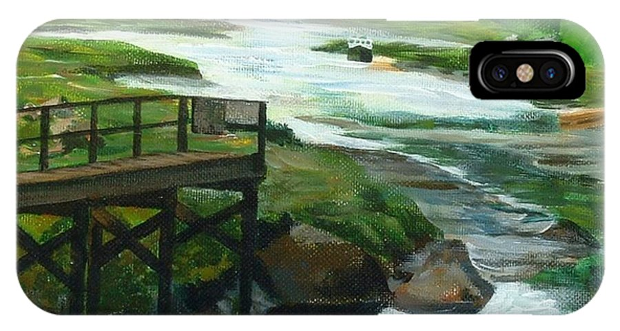 River IPhone X Case featuring the painting Little River Gloucester Study by Claire Gagnon