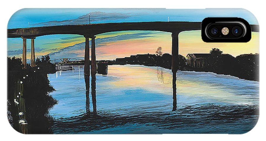 Sunset IPhone X Case featuring the painting Little River Waterfront by Donna Mann