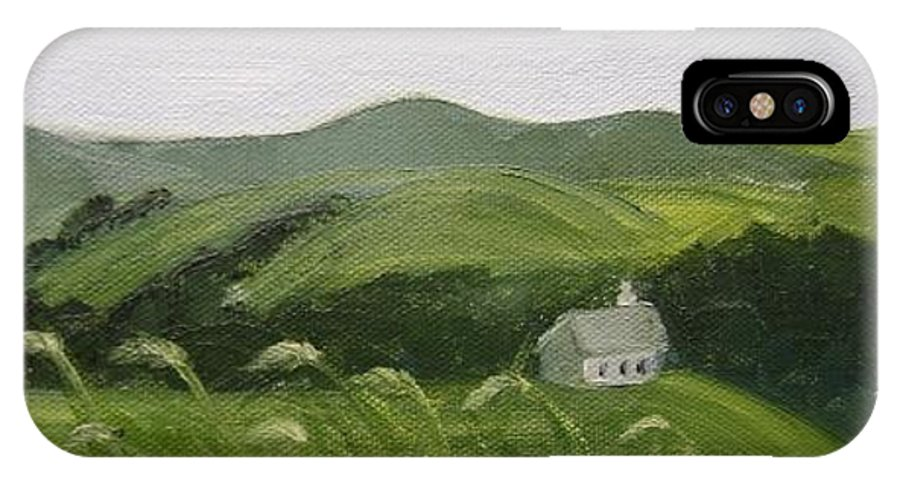 Landscape IPhone X Case featuring the painting Little Schoolhouse on the Hill by Toni Berry