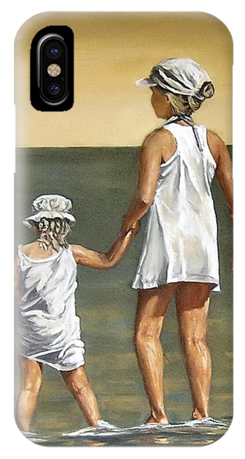 Little Girl Reflection Girls Kids Figurative Water Sea Seascape Children Portrait IPhone X Case featuring the painting Little Sisters by Natalia Tejera