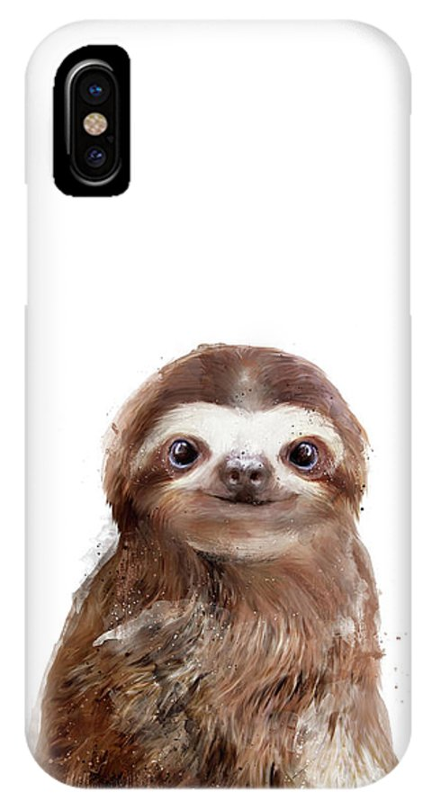 Sloth IPhone X Case featuring the painting Little Sloth by Amy Hamilton
