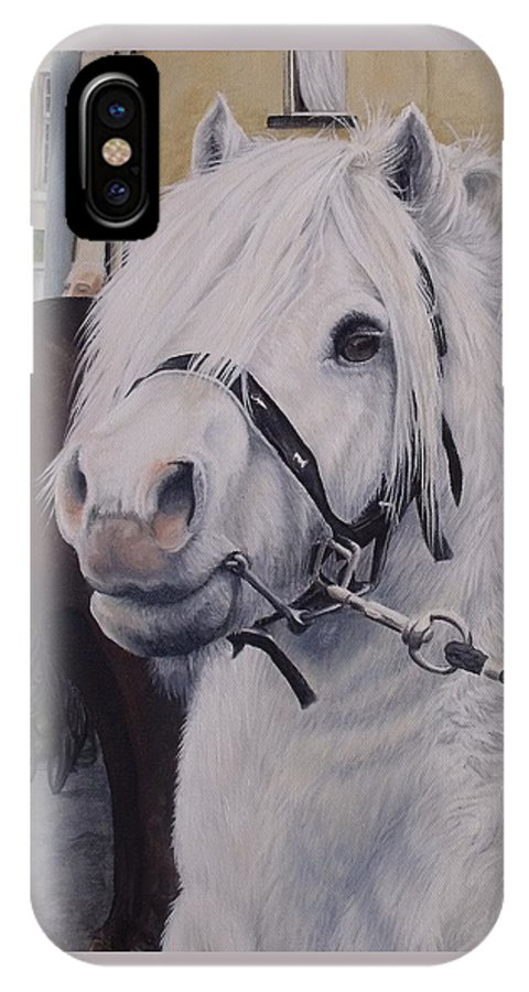 Portrait IPhone X Case featuring the painting Little Stallion-glin Fair by Pauline Sharp