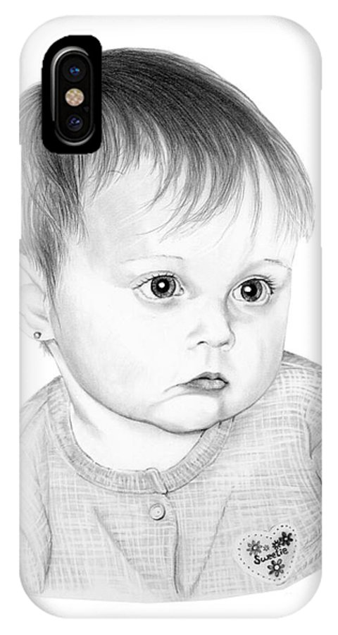 Pencil IPhone X Case featuring the drawing Little Sweetie by Murphy Elliott