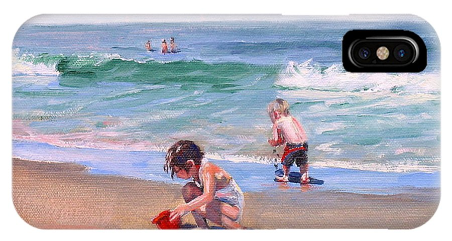 Seascape IPhone Case featuring the painting Little Tykes by Laura Lee Zanghetti
