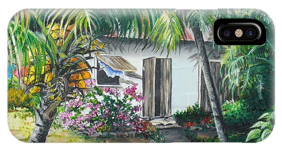 Caribbean Painting Typical Country House In Trinidad And The Islands With Coconut Tree Tropical Painting IPhone X Case featuring the painting Little West Indian House 2...sold by Karin Dawn Kelshall- Best