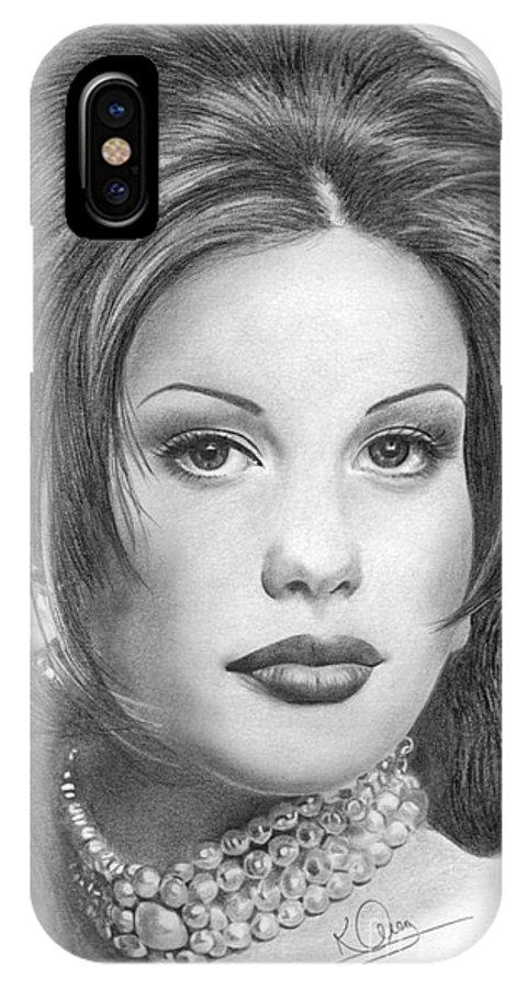 Liv Tyler IPhone X Case featuring the drawing Liv Tyler by Karen Townsend