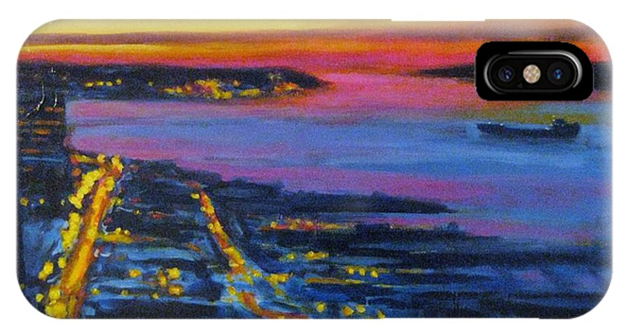 Night Scenes IPhone X Case featuring the painting Live Eye over Dartmouth NS by John Malone