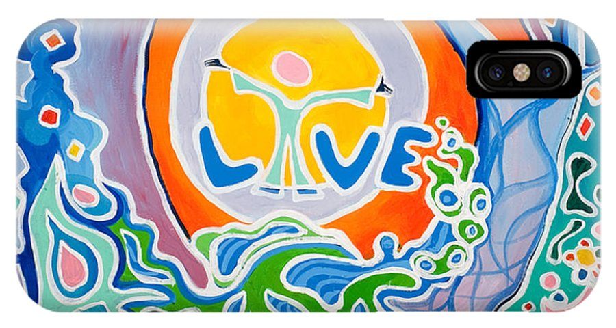 Abstract IPhone Case featuring the painting Live Love by Jaison Cianelli