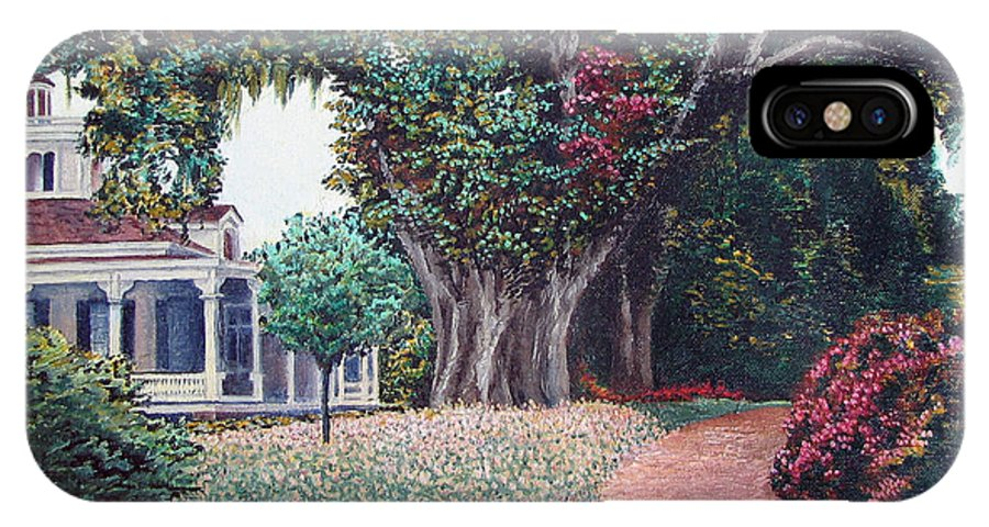 Landscape IPhone X Case featuring the painting Live Oak Gardens Jefferson Island La by Todd Blanchard