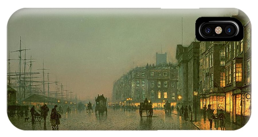Liverpool Docks From Wapping IPhone X Case featuring the painting Liverpool Docks From Wapping by John Atkinson Grimshaw