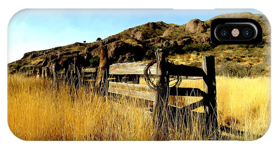 Southwestern IPhone X Case featuring the photograph Livery Fence At Dripping Springs by Kurt Van Wagner