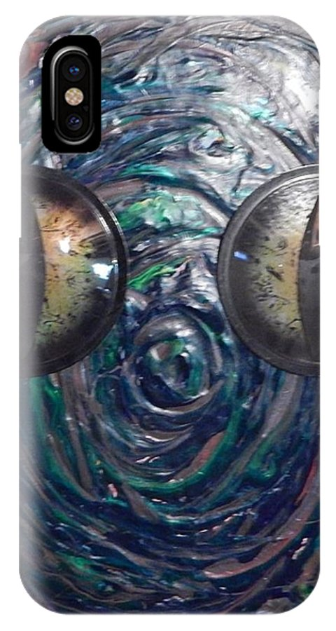 Lizard Reptile Animal IPhone X Case featuring the painting Lizard Man by Dennis Young