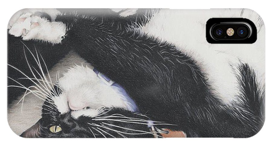 Cat IPhone X Case featuring the drawing Lizzie - Cant Resist The Cuteness by Amy S Turner